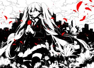 Rating: Safe Score: 37 Tags: hatsune_miku monochrome rella saihate_(vocaloid) seifuku thighhighs vocaloid User: Radioactive