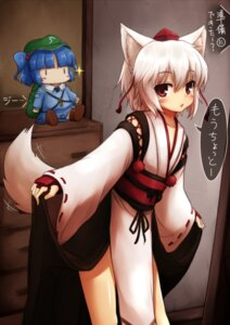 Rating: Safe Score: 29 Tags: animal_ears inubashiri_momiji japanese_clothes kawashiro_nitori negija tail touhou User: Nekotsúh
