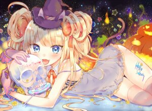 Rating: Questionable Score: 21 Tags: dress halloween hyerry loli pantsu see_through string_panties thighhighs User: KazukiNanako