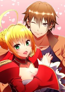Rating: Safe Score: 15 Tags: cleavage fate/extra fate/stay_night kishinami_hakuno male_protagonist_(fate/extra) ookami_maito saber_extra User: charunetra