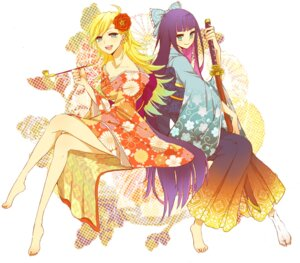 Rating: Safe Score: 64 Tags: japanese_clothes kimono panty panty_&_stocking_with_garterbelt shivue stocking sword User: hobbito