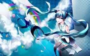 Rating: Safe Score: 16 Tags: 1055 hatsune_miku headphones tattoo thighhighs vocaloid User: charunetra
