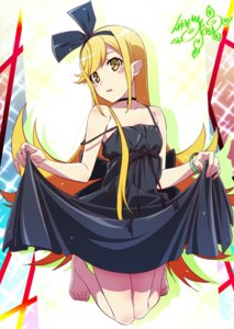 Rating: Safe Score: 34 Tags: bakemonogatari dress makicha oshino_shinobu pointy_ears skirt_lift User: yanis