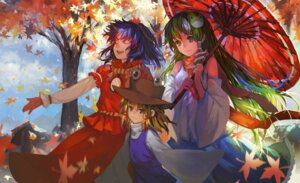 Rating: Safe Score: 19 Tags: dress kochiya_sanae moriya_suwako touhou umbrella yasaka_kanako zrero User: blooregardo