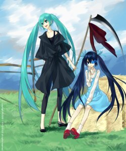 Rating: Safe Score: 15 Tags: black_rock_shooter black_rock_shooter_(character) dress hatsune_miku psd vocaloid User: cheese
