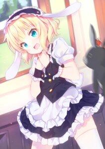 Rating: Safe Score: 10 Tags: animal_ears breast_hold bunny_ears gochuumon_wa_usagi_desu_ka? kerun kirima_sharo maid skirt_lift thighhighs User: yanis