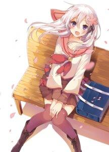 Rating: Safe Score: 99 Tags: mishima_kurone ogawa_momoko sakura_contact seifuku thighhighs User: fairyren