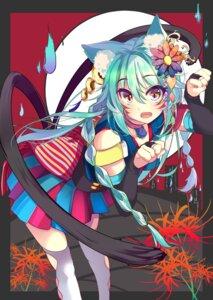 Rating: Safe Score: 36 Tags: animal_ears kona_(pixiv1056283) nekomimi tail thighhighs User: KazukiNanako