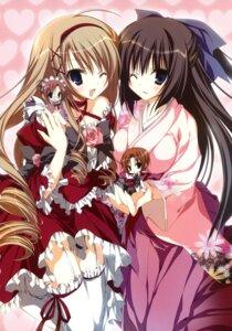 Rating: Safe Score: 39 Tags: chibi dress inugami_kira kimono ojou-sama_shimai_no_meirei_desu stockings thighhighs User: crim