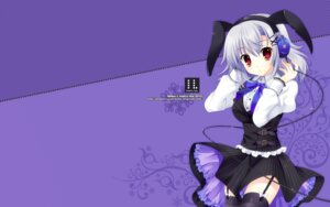 Rating: Safe Score: 49 Tags: animal_ears bunny_ears headphones indico_lite mitha stockings thighhighs wallpaper User: androgyne