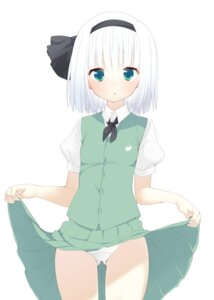 Rating: Questionable Score: 41 Tags: konpaku_youmu nigou_(aozoragarou) pantsu skirt_lift touhou User: Urameshiya
