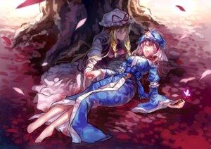 Rating: Safe Score: 20 Tags: blood dress saigyouji_yuyuko touhou uu_uu_zan weapon yakumo_yukari User: charunetra