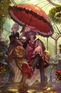 Rating: Safe Score: 36 Tags: dress heels izayoi_sakuya neko-mura_ikkro remilia_scarlet touhou umbrella wings User: Mr_GT