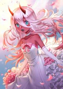 Rating: Safe Score: 29 Tags: boku_koyuki_mx darling_in_the_franxx dress horns wedding_dress zero_two_(darling_in_the_franxx) User: Mr_GT