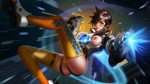 Rating: Questionable Score: 55 Tags: bodysuit breasts cameltoe gun liang_xing nipples no_bra overwatch thighhighs tracer User: charunetra