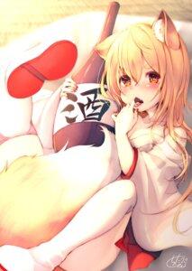 Rating: Safe Score: 26 Tags: animal_ears chita_(ketchup) cleavage japanese_clothes kitsune open_shirt sake tail thighhighs User: RyuZU