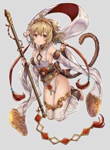 Rating: Questionable Score: 80 Tags: anchira_(granblue_fantasy) animal_ears cleavage granblue_fantasy leotard madogawa no_bra nopan see_through tail thighhighs weapon User: nphuongsun93