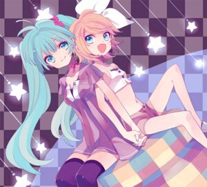 Rating: Safe Score: 26 Tags: amazawa_koma hatsune_miku kagamine_rin thighhighs vocaloid User: fairyren