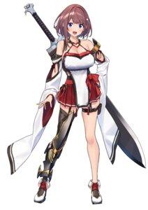 Rating: Safe Score: 31 Tags: armor baffu garter hitoyo_(baffu) no_bra stockings sword thighhighs User: BattlequeenYume