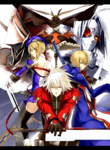 Rating: Safe Score: 10 Tags: blazblue hakumen kisaragi_jin noel_vermillion rachel_alucard ragna_the_bloodedge thighhighs tissue v-13 User: Radioactive