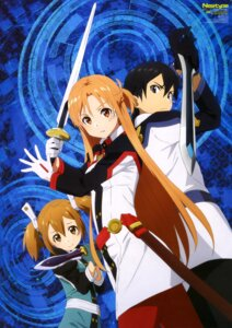 Rating: Safe Score: 46 Tags: ajiki_kei asuna_(sword_art_online) kirito silica sword sword_art_online uniform User: drop