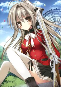 Rating: Questionable Score: 73 Tags: amagi_brilliant_park gun karomix karory sento_isuzu thighhighs uniform User: Twinsenzw