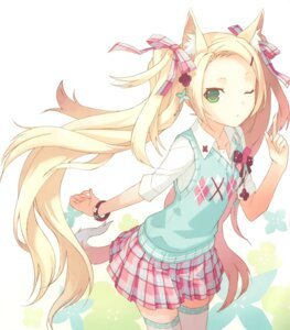 Rating: Safe Score: 82 Tags: animal_ears h2so4 tail thighhighs User: van