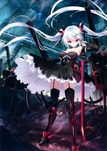 Rating: Safe Score: 139 Tags: cleavage dress hayakawa_harui heels stockings sword thighhighs weapon User: Twinsenzw