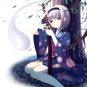 Rating: Safe Score: 32 Tags: kimono konpaku_youmu rairateru sword touhou User: 椎名深夏
