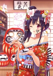 Rating: Safe Score: 60 Tags: chiba_sadoru cleavage kimono User: Bulzeeb