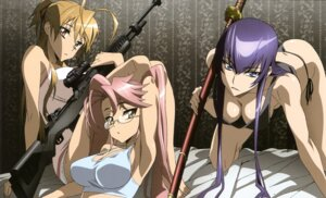 Rating: Questionable Score: 120 Tags: busujima_saeko cleavage gun highschool_of_the_dead megane miyamoto_rei pantsu string_panties sword takagi_saya tanaka_masayoshi User: YamatoBomber