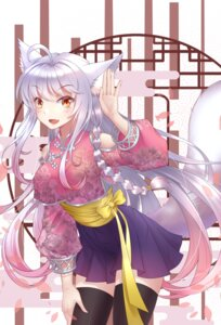 Rating: Questionable Score: 24 Tags: animal_ears asian_clothes kitsune sheng tail thighhighs User: sym455
