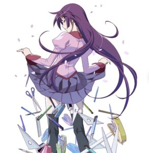 Rating: Safe Score: 61 Tags: bakemonogatari seifuku senjougahara_hitagi skirt_lift thighhighs watanabe_akio User: blooregardo