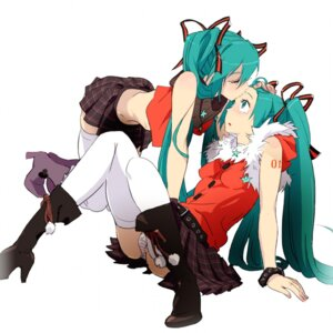 Rating: Safe Score: 40 Tags: hatsune_miku mebae pantsu shimapan thighhighs vocaloid User: Radioactive