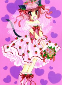 Rating: Safe Score: 5 Tags: animal_ears dress ikumi_mia momomiya_ichigo nekomimi tail tokyo_mew_mew wedding_dress User: charunetra