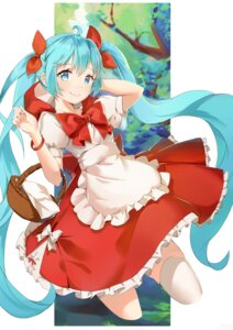 Rating: Safe Score: 24 Tags: blue_lantern_qaq cosplay dress hatsune_miku little_red_riding_hood_(character) thighhighs vocaloid User: sym455