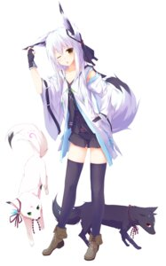 Rating: Safe Score: 85 Tags: animal_ears kitsune nagishiro_mito tail thighhighs User: KazukiNanako