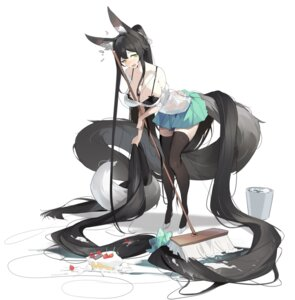 Rating: Questionable Score: 35 Tags: animal_ears bra helic_(7317helic) kitsune open_shirt see_through seifuku tail thighhighs wet_clothes User: Mr_GT