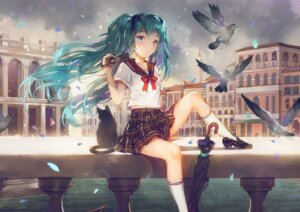 Rating: Safe Score: 53 Tags: dangmill hatsune_miku heels neko seifuku umbrella vocaloid User: Mr_GT