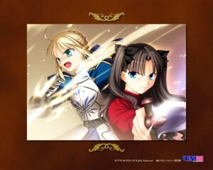 Rating: Safe Score: 5 Tags: fate/stay_night saber takeuchi_takashi toosaka_rin type-moon wallpaper User: noirblack