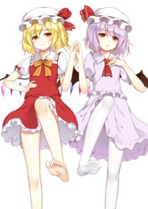 Rating: Safe Score: 33 Tags: feet flan_(seeyouflan) flandre_scarlet pantyhose remilia_scarlet skirt_lift touhou wings User: Radioactive