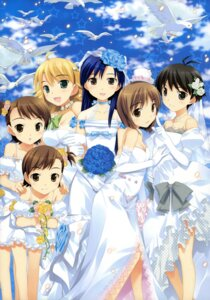 Rating: Safe Score: 33 Tags: cleavage dress fujima_takuya futami_ami futami_mami hagiwara_yukiho hoshii_miki kikuchi_makoto kisaragi_chihaya the_idolm@ster the_idolm@ster_break! wedding_dress User: gogotea28