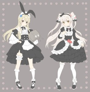 Rating: Safe Score: 27 Tags: amatsukaze_(kancolle) garter heels kantai_collection maid shimakaze_(kancolle) shiosoda skirt_lift thighhighs User: fairyren