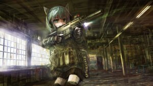 Rating: Safe Score: 33 Tags: animal_ears gun heterochromia nekomimi op-center wallpaper User: eridani
