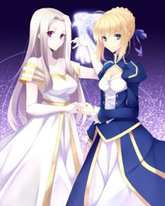 Rating: Safe Score: 23 Tags: cleavage fate/stay_night fate/zero irisviel_von_einzbern kujou_ichiso saber User: fairyren