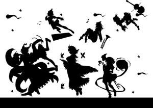 Rating: Safe Score: 6 Tags: chen kitazinger konpaku_youmu lunasa_prismriver lyrica_prismriver merlin_prismriver monochrome saigyouji_yuyuko silhouette touhou yakumo_ran User: itsu-chan