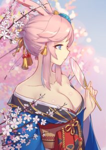 Rating: Questionable Score: 64 Tags: animal_ears benghuai_xueyuan bunny_ears cleavage honkai_impact japanese_clothes liu_lan no_bra open_shirt yae_sakura_(benghuai_xueyuan) User: sym455