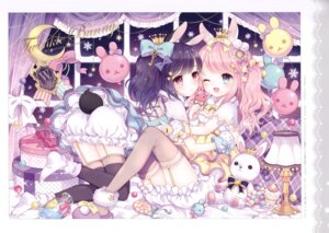Rating: Questionable Score: 38 Tags: animal_ears ass bloomers bunny_ears cleavage stockings tail thighhighs w.label wasabi_(artist) yuri User: Radioactive
