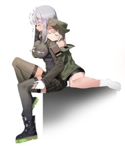 Rating: Questionable Score: 16 Tags: breast_grab g11_(girls_frontline) girls_frontline hk416_(girls_frontline) ihobus thighhighs User: Dreista