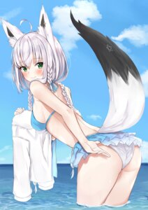 Rating: Questionable Score: 25 Tags: animal_ears ass bikini hololive nemun shirakami_fubuki swimsuits tail wet User: hiroimo2